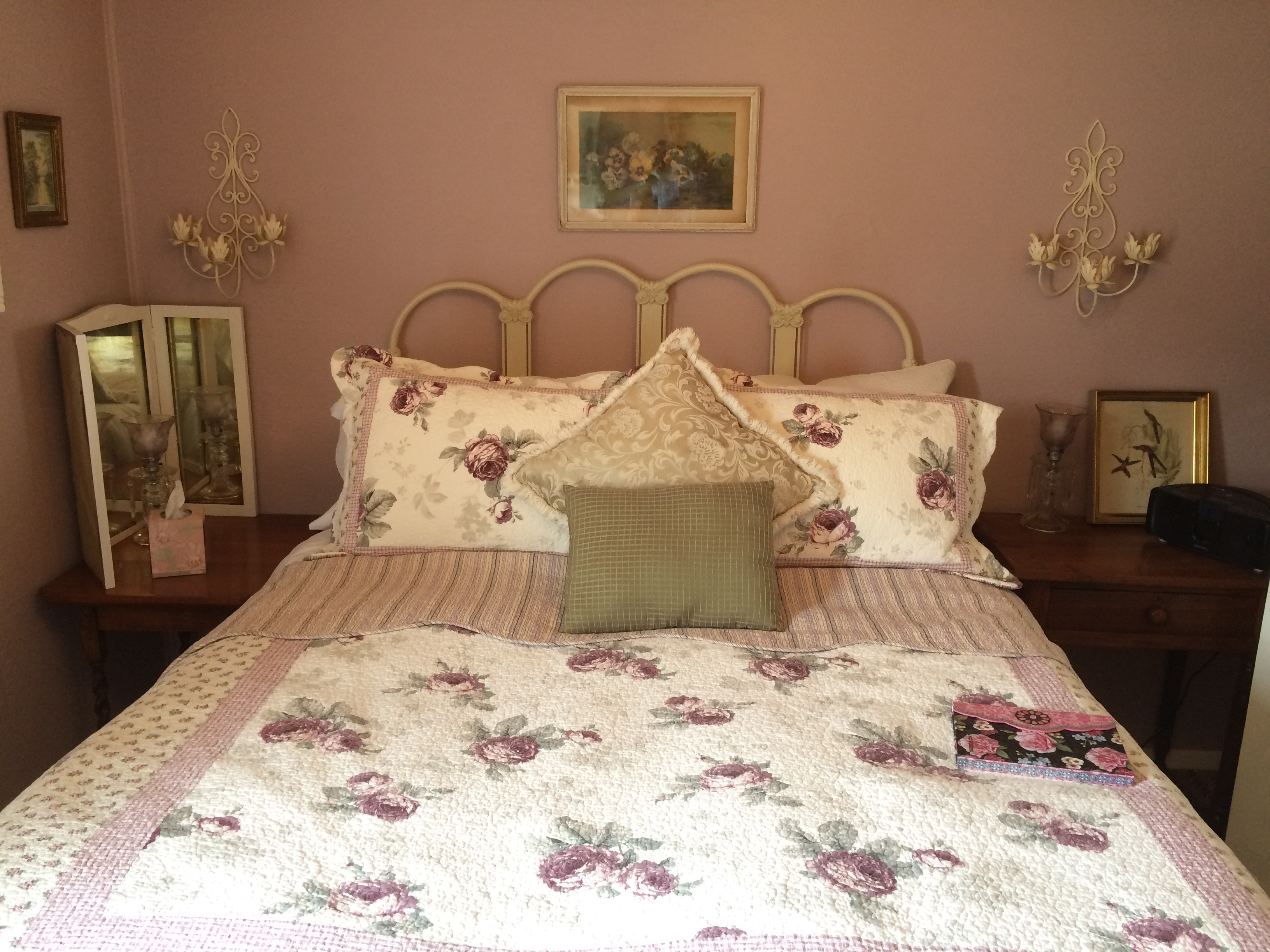 Our second room features an extremely comfortable bed, soothing colors and collectables.