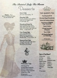 Tea Room Menu - back