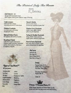 Tea Room Menu - front